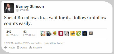 Social Bro allows to... wait for it... follow/unfollow counts easily.