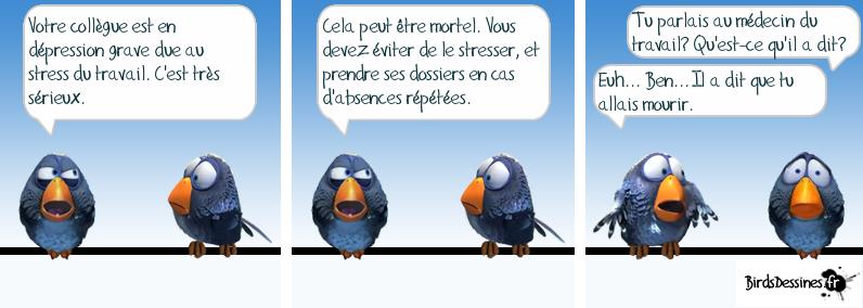 """Oiseau n° 1 : """"Votre collègue est en dépression grave due au stress du travail. C'est très sérieux. Cela peut être mortel. Vous devez éviter de le stresser, et prendre en charge ses dossiers en cas d'absences répétées."""" Oiseau 2 : """"Tu parlais au médecin du travail? Qu'est-ce qu'il a dit?"""" Oiseau 3 : """"Euh... Ben... Il a dit que tu allais mourir""""."""