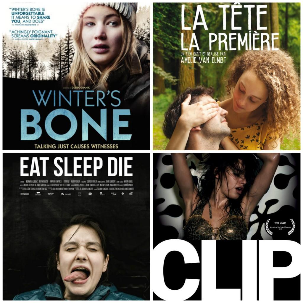 Affiches des films Winter's bone, La tête la première, Eat sleep die et Clip