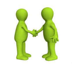 Photo de deux personnages qui se serrent la main