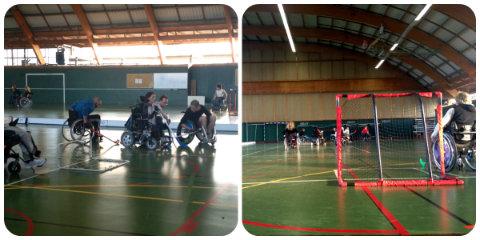 Photos prises lors d'un entrainement de handi-hockey avec l'association EASI