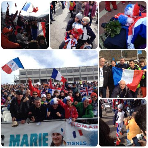 Photo des supporters de l'équipe de France Paralympique et de Marie Bochet à Sochi