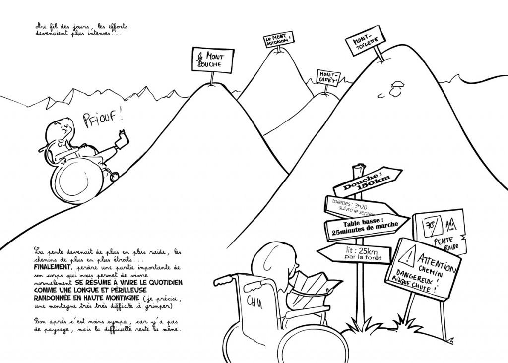 """BD et Handicap: """"la convalescence, c'est un peu comme une grande randonnée en haute montagne"""" par Capucine Blanchard"""