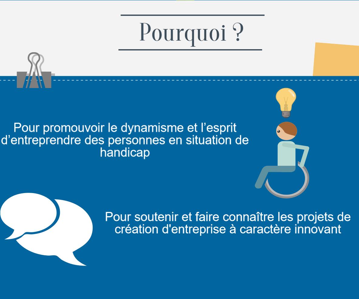Pourquoi? Pour promouvoir le dynamisme et l'esprit d'entreprendre des personnes en situation de handicap. Pour soutenir et faire connaître les projets de création d'entreprise à caractère innovant.