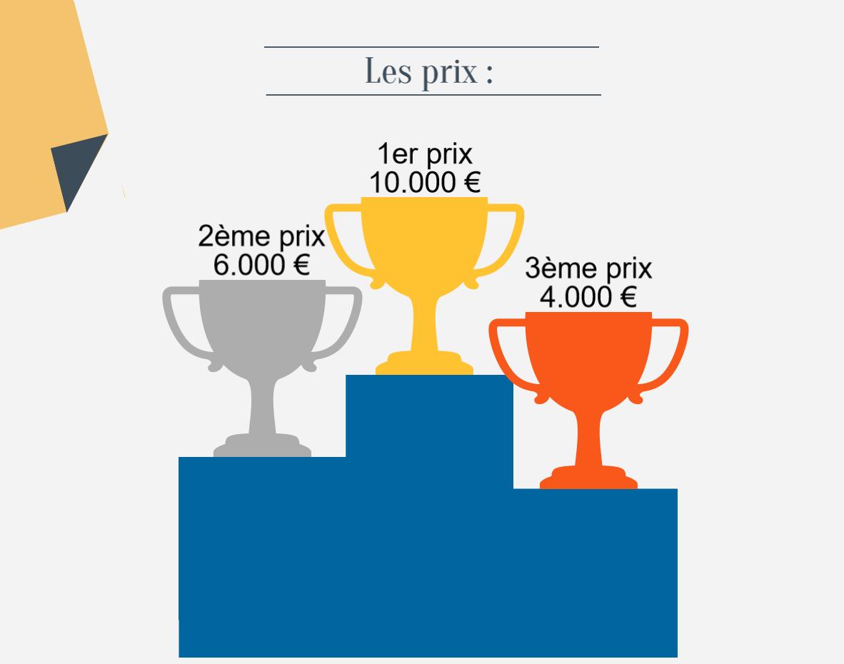 Les prix: troisième prix: 4000 euros. Deuxième prix: 6000 euros. Premier prix: 10000 euros