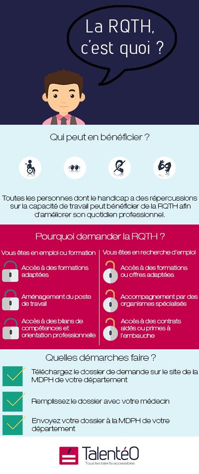 La RQTH, c'est quoi? Qui peut en bénéficier? Toutes les personnes dont le handicap a des répercussions sur la capacité de travail peut bénéficier de la RQTH afin d'améliorer son quotidien professionnel. Pourquoi demander la RQTH? Vous êtes en emploi ou formation: Accès à des formations adaptées, aménagement du poste de travail, accès à des bilans de compétences et orientation professionnelle. Vous êtes en recherche d'emploi: Accès à des formations ou offres adaptées, accompagnement par des organismes spécialisés, accès à des contrats aidés ou primes à l'embauche. Quelles démarches faire? Téléchargez le dossier de demande sur le site de la MDPH de votre département. Remplissez le dossier avec votre médecin. Envoyez votre dossier à la MDPH de votre département.