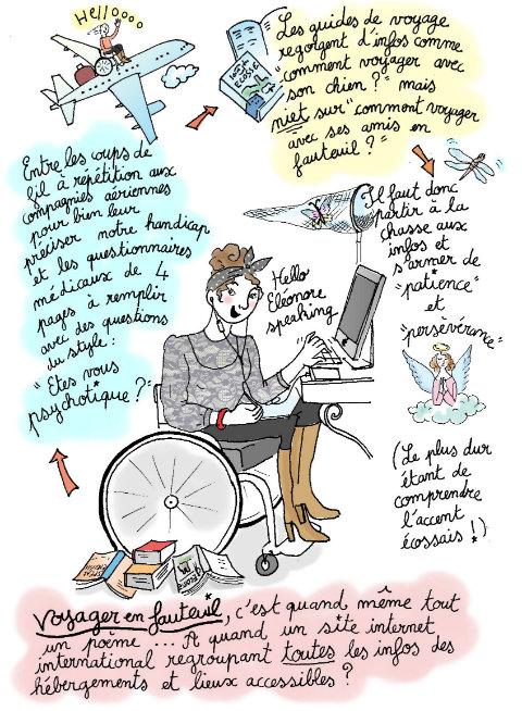 """Les guides de voyage regorgent d'infos comme """"comment voyager avec son chien?"""" mais niet sur """"comment voyager avec ses amis en fauteuil?"""" ! Il faut donc partir à la chasse aux infos et s'armer de """"patience"""" et """"persévérance"""". (Le plus dur étant de comprendre l'accent écossais!) Voyager en fauteuil, c'est quand même tout un poème... A quand un site internet international regroupant toutes les infos des hébergements et lieux accessibles ?"""