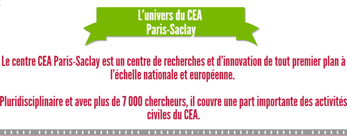 L'univers du CEA Paris-Saclay : Le centre CEA Paris-Saclay est un centre de recherches et d'innovation de tout premier plan à l'échelle nationale et européenne. Pluridisciplinaire et avec plus de 7 000 chercheurs, il couvre une part importante des activités civiles du CEA.