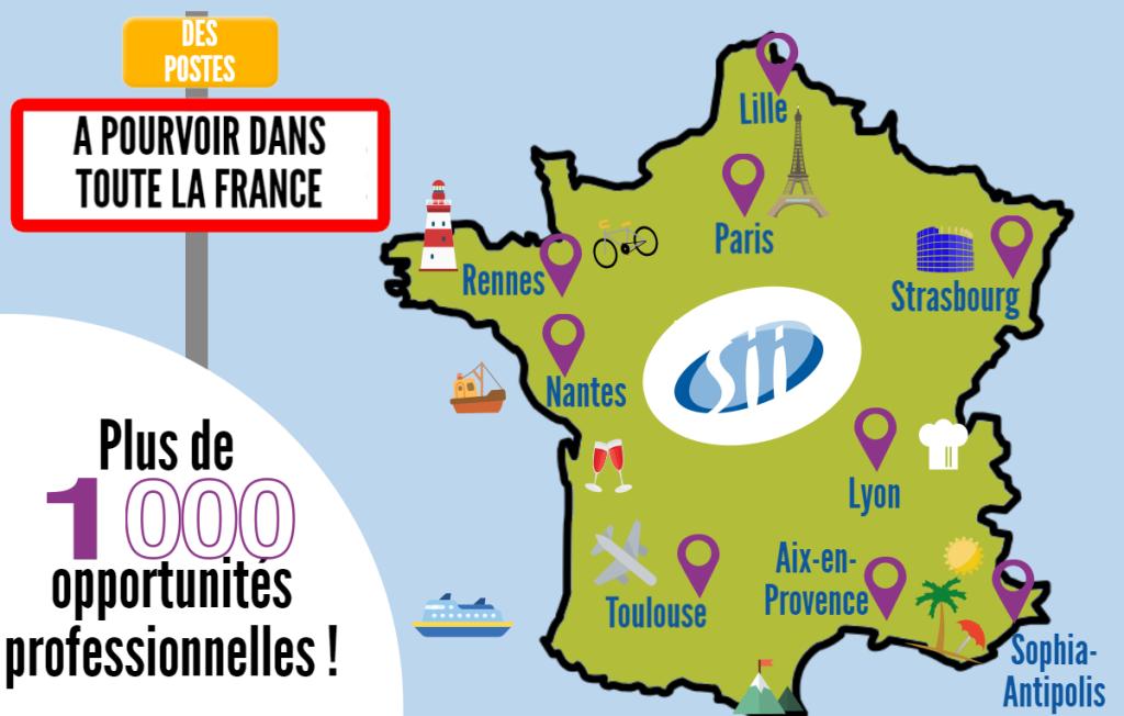 Des postes à pourvoir dans toute la France : Lille, Rennes, Paris, Strasbourg, Lyon, Toulouse, Aix-en-Provence, Sophia-Antipolis. Plus de 1000 opportunités professionnelles.