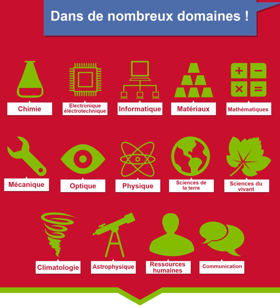 14 domaines: Chimie, Electronique électrotechnique, Informatique, Matériaux, Mathématiques, Mécanique, Optique, Physique, Sciences de la terre, Sciences du vivant, Climatologie, Astrophysique, Ressources humaines, Communication.
