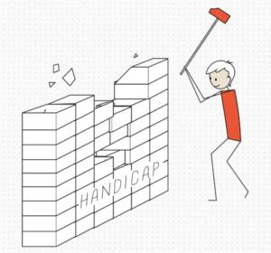 Personnage brisant les préjugés sur le handicap avec un marteau. Le handicap est représenté par un mur de briques.