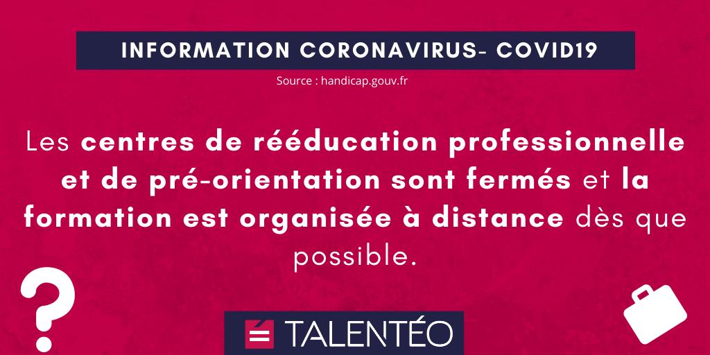 COVID-19 : Les centres de rééducation professionnelle et de pré-orientation sont fermés et la formation est organisée à distance dès que possible.