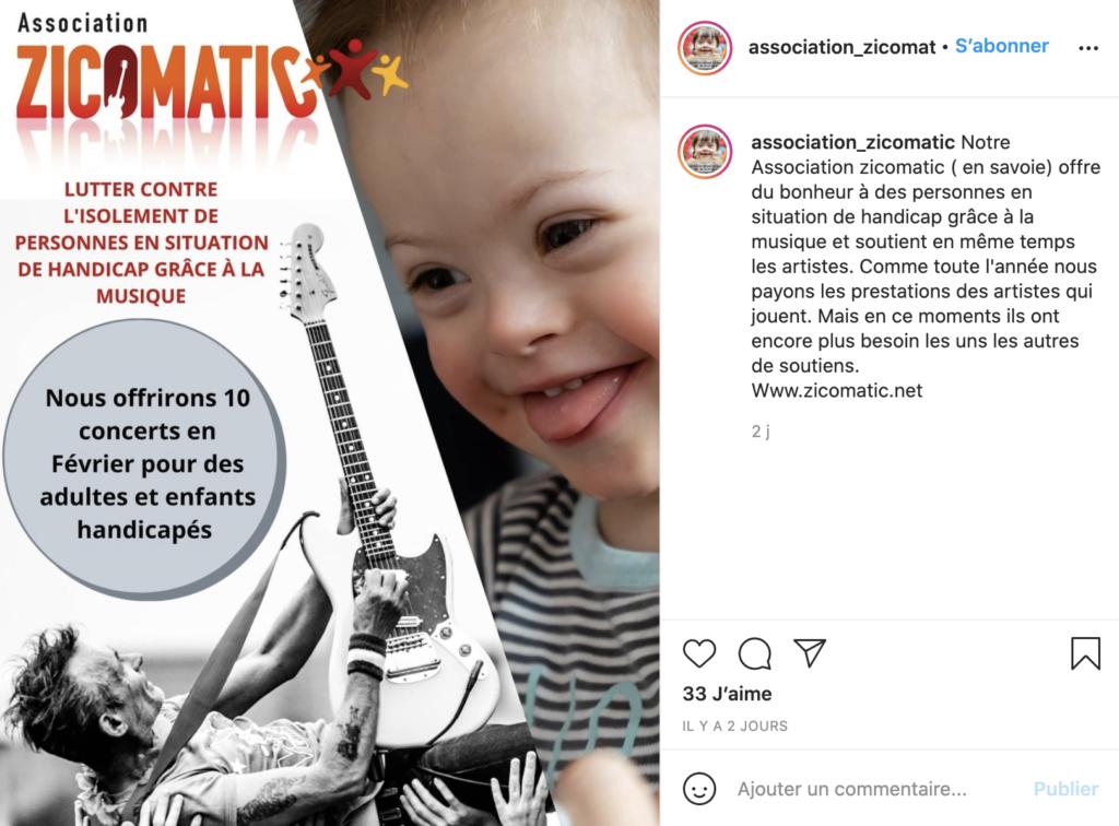 Compte instagram association zicomatic